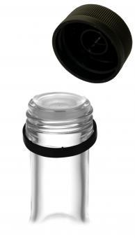 PP31,5 Schraubverschluss schwarz - Kunststoff mit Ausgießer, Gewinde & Sicherungsring