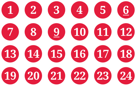 Schmucketikett Adventskalender rot/weiß - Bogen mit Ziffer 1-24 - Durchmesser: 15mm