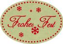 Schmucketikett Frohes Fest 46x 32mm - gold matt Selbstklebend Farbe: rot Packung á 250 Stück auf Rolle